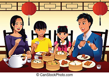 Chinese family eating dim sum - A vector illustration of...