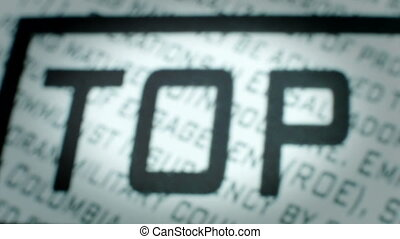 Closeup of Top Secret Stamp
