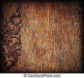 Pattern of old wood frame carve flower on wood background