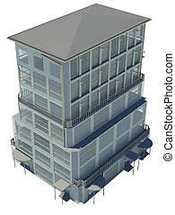 Highly detailed building Isolated render on a white...