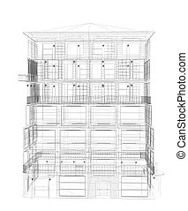 Highly detailed building. Wire-frame render - Highly...