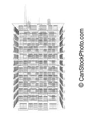 Highly detailed building. Wire-frame render