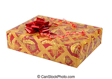 Box with a gift on white