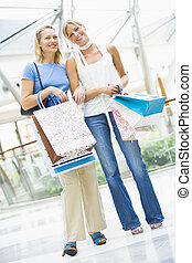 Friends shopping in mall - Friends shopping mall carrying...