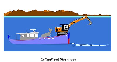 gold mining at sea - mining plant on the water with wash...