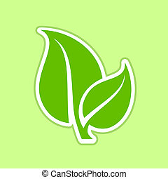 Ecology concept icon with green leaves.