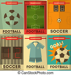 Football Posters Collection. Soccer Placards Set in Flat...
