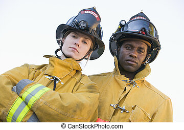 retrato, bomberos