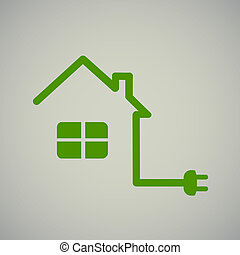 green house with socket, electricity, illustration, energy.