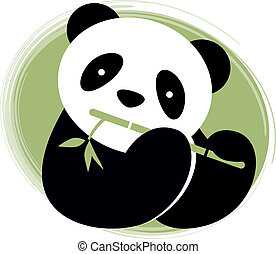 Panda with bamboo Vector illustration