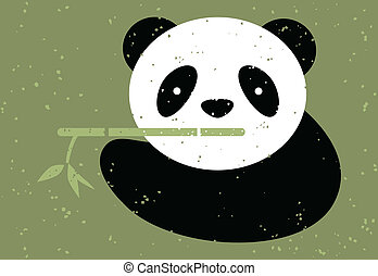 Panda bear and bamboo. Vector illustration.