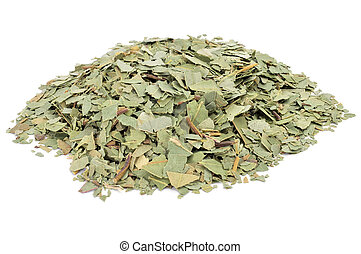 crushed eucalyptus leaves to prepare herbal tea on a white...