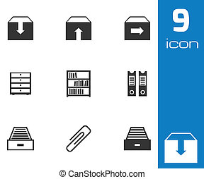 Vector black archive icons set on white background