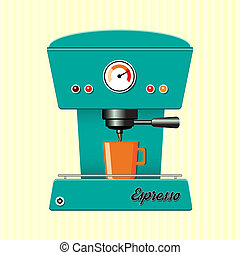 Retro coffe machine - Retro style coffee maker on...