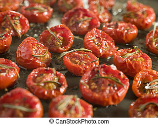 Tray of Oven Dried Tomatoes