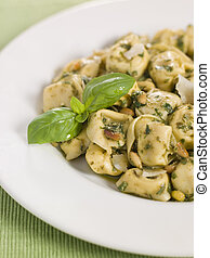 Chicken and Mushroom Tortelinni with Pesto and Pine Nuts