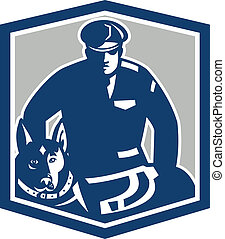 Canine Policeman With Police Dog Retro - Illustration of a...