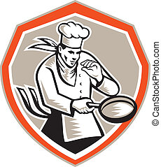 Chef Cook Holding Frying Pan Retro - Illustration of a chef...