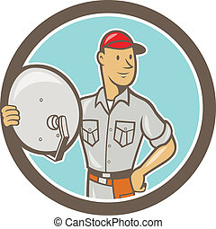 Cable TV Installer Guy Cartoon