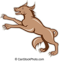 Wolf Wild Dog on Hind Legs Cartoon - Illustration of an...