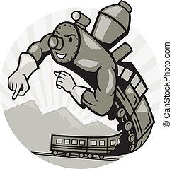 Super Steam Train Locomotive Man - Illustration of a Super...
