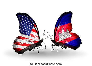 twee, vlinder, vlaggen, Vleugels, symbool, Relaties, USA,...
