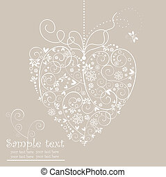 Retro postcard with heart shape