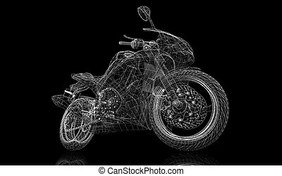 bike, motorcycle,  3D model body structure, wire model