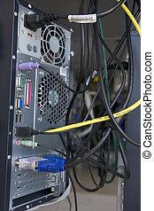 tiro, muitos, cabos, costas, computador, modem