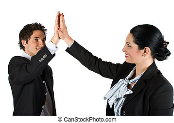 Business team give high five