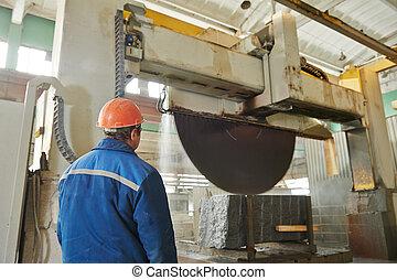 trabajador, granito, fabricación
