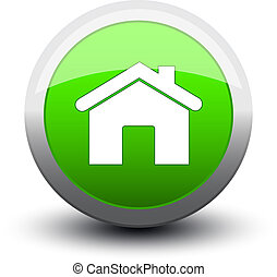 button home 2d green - button home 2d on white background