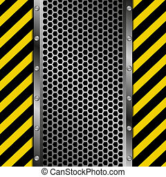 industrial background - grate background with yellow and...