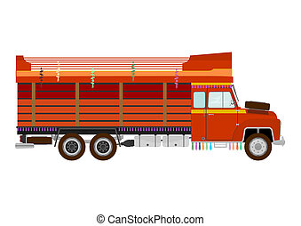 Indian truck - The side silhouette of a vintage truck