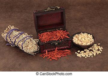 Incense Selection - Frankincense, sandalwood and sage smudge...