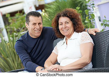 Happy italian adult people couple