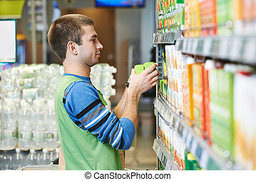 Shopping seller in supermarket - Merchandising Sales...