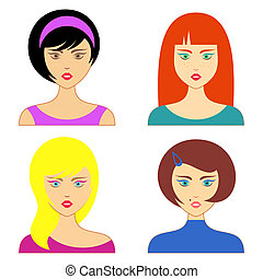Woman faces - Set of various cartoon woman faces vector...