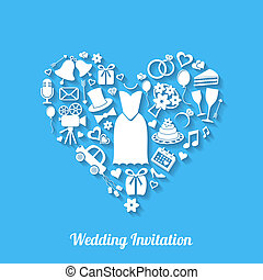 Wedding invitation - Blue vector invitation card with...