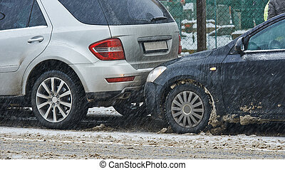 car crash collision in winter - car crash collision accident...