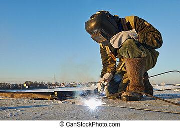 Soldador, construcción, sitio