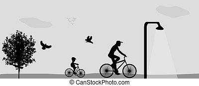 Family Riding Bikes in the Park. Vector Illustration.