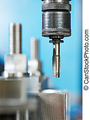 Close-up process of metal threading - Close up machining...