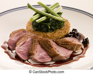 Breast of Duck, with Rosti Potato and Cassis Jus