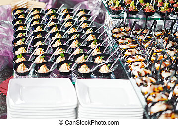close-up catering table set - catering services background...