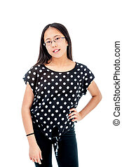 Confident Asian Tween Girl Posing - Asian tween girl...