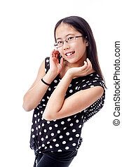 Adorable Tween Girl With Cute Pose - Asian tween girl with a...