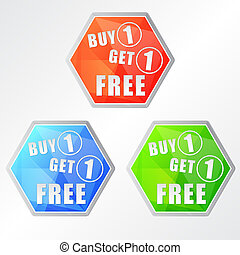 buy one get one free, three colors hexagons labels, flat...