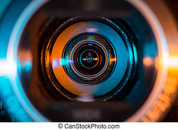 Video camera lens - Close up shot of video camera lens