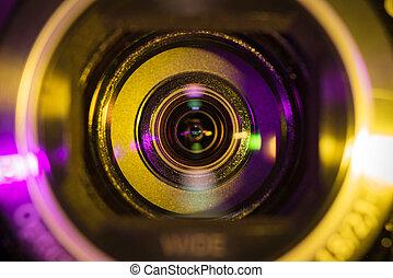 Video camera lens - Close up shot of video camera lens